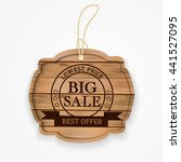 wooden big sale banner. vector... | Shutterstock .eps vector #441527095