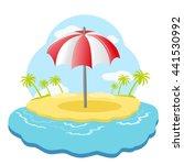 striped beach umbrella on sandy ... | Shutterstock . vector #441530992
