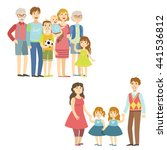full families posing together | Shutterstock .eps vector #441536812