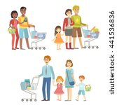 families with shopping carts in ... | Shutterstock .eps vector #441536836
