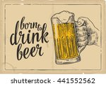 male hand holding a beer glass. ... | Shutterstock .eps vector #441552562