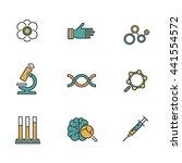 flat line icons set of online... | Shutterstock .eps vector #441554572