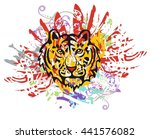 grunge tiger head with red... | Shutterstock .eps vector #441576082