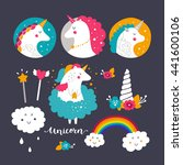 set of baby unicorn and rainbow.... | Shutterstock .eps vector #441600106