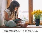 little girl in the bedroom.... | Shutterstock . vector #441607066