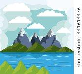 lake landscape design  | Shutterstock .eps vector #441614476