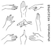 set of hands and fingers in... | Shutterstock . vector #441614968