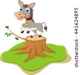 cute donkey cartoon posing on... | Shutterstock .eps vector #441624895