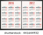 calendar for 2016 and 2017.... | Shutterstock .eps vector #441644932