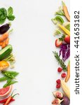 fresh produce background side... | Shutterstock . vector #441653182