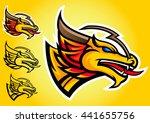gold dragon logo vector emblem... | Shutterstock .eps vector #441655756