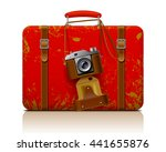 Red Vintage Threadbare Suitcas...