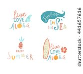 surfing summer beach vector... | Shutterstock .eps vector #441657616