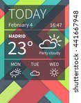 vector flat mobile weather ui...