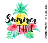 summer time lettering. set of... | Shutterstock . vector #441683182