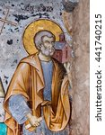 Small photo of Mount Athos, Greece - May 28, 2016: Timeworn frescoes of saints on the outer side of the Church of Protaton in karyes, Mount Athos