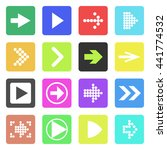 arrow sign icon set. flat style....