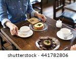 beautiful young woman is having ...   Shutterstock . vector #441782806