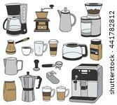 big set of coffee equipment.... | Shutterstock .eps vector #441782812