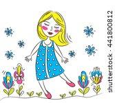happy young girl walking in... | Shutterstock .eps vector #441800812
