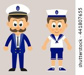 marine captain and marine boy   Shutterstock .eps vector #441807655