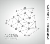 algeria grey outline vector map | Shutterstock .eps vector #441816598
