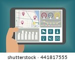 hand holding tablet with smart... | Shutterstock .eps vector #441817555