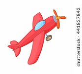 red aircraft icon in cartoon... | Shutterstock .eps vector #441827842