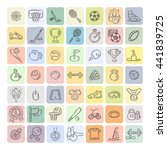 set of fitness and sport doodle ... | Shutterstock .eps vector #441839725