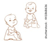 set with cute little babies... | Shutterstock .eps vector #441868636