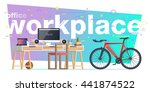 office workplace illustration.... | Shutterstock .eps vector #441874522