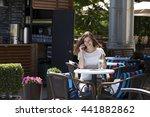 happy brunette woman calling by ... | Shutterstock . vector #441882862