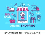 e commerce  pay online and... | Shutterstock .eps vector #441893746