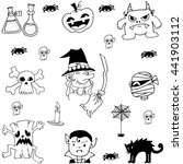 doodle set halloween flat with... | Shutterstock .eps vector #441903112