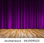 Purple Curtain And Wooden Floo...