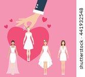 man pick select girl as bride... | Shutterstock .eps vector #441932548