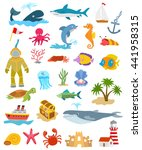 set of ocean animals and fishes | Shutterstock . vector #441958315