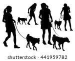 girl walking with a dog on a... | Shutterstock . vector #441959782