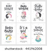 Stock vector baby shower posters vector invites cards with cute unicorns and hand drawn font on white 441962008