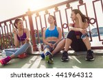 three sportive pretty women... | Shutterstock . vector #441964312