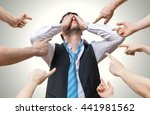 many hands pointing at... | Shutterstock . vector #441981562