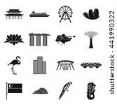 singapore landmark icons set.... | Shutterstock .eps vector #441990322
