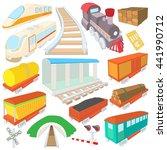 railway icons set in cartoon...   Shutterstock .eps vector #441990712