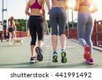 three sportive pretty women... | Shutterstock . vector #441991492