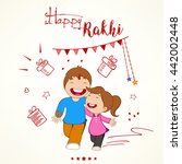 happy kids or brother and... | Shutterstock .eps vector #442002448