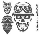 set of motorcycle helmet skulls ... | Shutterstock .eps vector #442003072