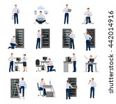 system administrator flat icons ... | Shutterstock .eps vector #442014916