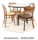 round cafeteria table with four ... | Shutterstock . vector #442021405