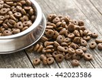 Dry Kibble Dog Food In Bowl On...