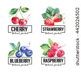 eco food labels set. watercolor ... | Shutterstock .eps vector #442026502